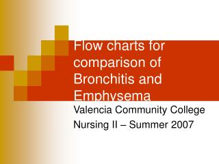 Flow charts for comparison of Bronchitis and Emphysema