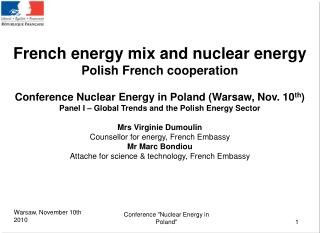 French energy mix and nuclear energy Polish French cooperation