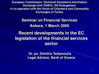 Se minar on Financial Services Ankara, 1 March 2005