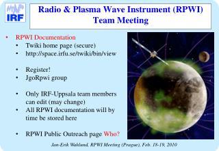 Radio & Plasma Wave Instrument (RPWI)  Team Meeting