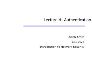 Lecture 4: Authentication