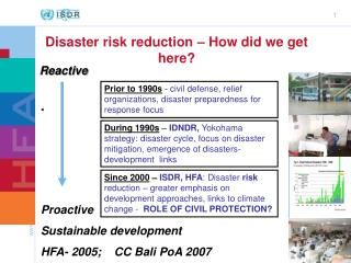 Prior to 1990s  -  civil defense, relief organizations, disaster preparedness for  response focus