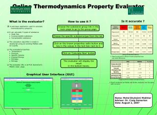 Online Thermodynamics Property Evaluator