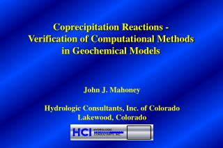 John J. Mahoney Hydrologic Consultants, Inc. of Colorado Lakewood, Colorado