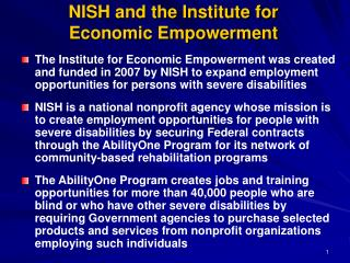 NISH and the Institute for  Economic Empowerment