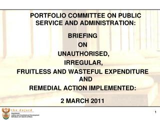 PORTFOLIO COMMITTEE ON PUBLIC SERVICE AND ADMINISTRATION:  BRIEFING  ON  UNAUTHORISED,
