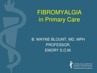 FIBROMYALGIA in Primary Care