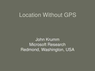 Location Without GPS