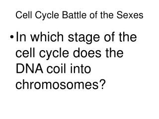 Cell Cycle Battle of the Sexes