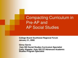 Compacting Curriculum in Pre-AP and  AP Social Studies