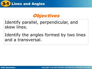 Identify parallel, perpendicular, and skew lines.