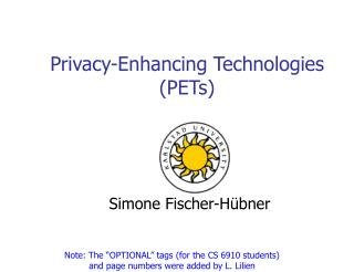 Privacy-Enhancing Technologies (PETs)