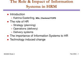 The Role & Impact of Information Systems in HRM