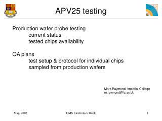 APV25 testing