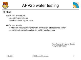 APV25 wafer testing