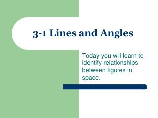 3-1 Lines and Angles