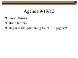 Agenda 9/19/12