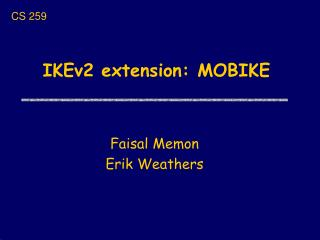 IKEv2 extension: MOBIKE