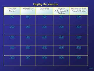 Peopling the Americas