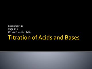 Titration of Acids and Bases
