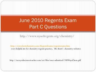 June 2010 Regents Exam Part C Questions