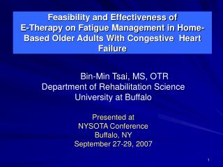Feasibility and Effectiveness of  E-Therapy on Fatigue Management in Home-Based Older Adults With Congestive  Heart Fail