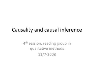 Causality and causal inference