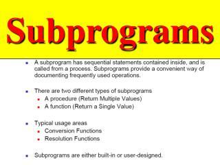 Subprograms