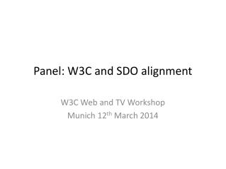 Panel: W3C and SDO  alignment