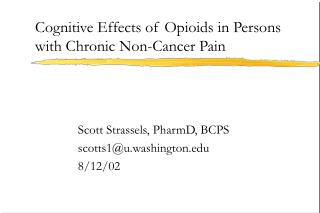 Cognitive Effects of Opioids in Persons with Chronic Non-Cancer Pain