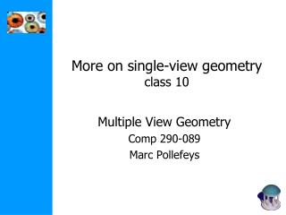 More on single-view geometry class 10