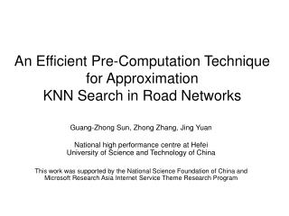 An Efficient Pre-Computation Technique for Approximation KNN Search in Road Networks