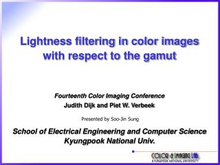 Lightness filtering in color images with respect to the gamut