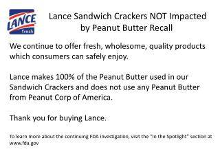 Lance Sandwich Crackers NOT Impacted by Peanut Butter Recall