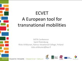 ECVET  A European tool for transnational mobilities