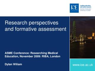 Research perspectives and formative assessment