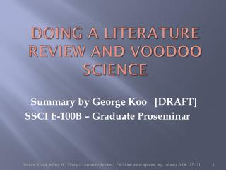 Doing a Literature  Review and Voodoo Science