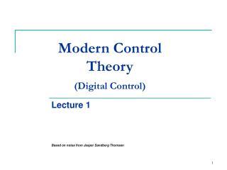 Modern Control Theory (Digital Control)