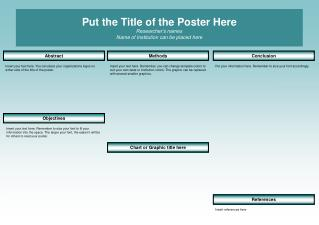 Put the Title of the Poster Here Researcher's names Name of Institution can be placed here