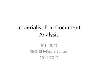 Imperialist Era: Document Analysis