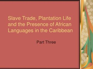 Slave Trade, Plantation Life and the Presence of African Languages in the Caribbean