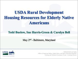 USDA Rural Development Housing Resources for Elderly Native Americans