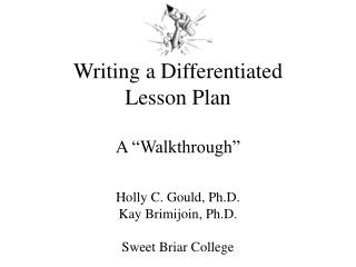 "Writing a Differentiated  Lesson Plan A ""Walkthrough"""