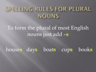 SPELLING RULES FOR PLURAL NOUNS