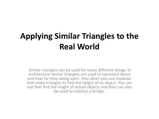 Applying Similar Triangles to the Real World
