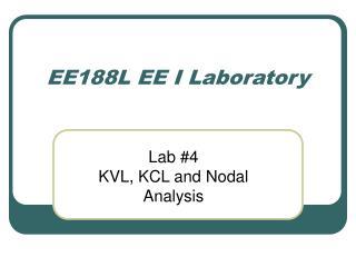 EE188L EE I Laboratory