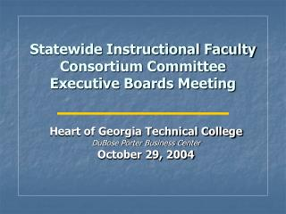 Statewide Instructional Faculty Consortium Committee ...