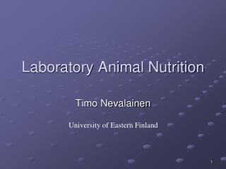 Laboratory Animal Nutrition