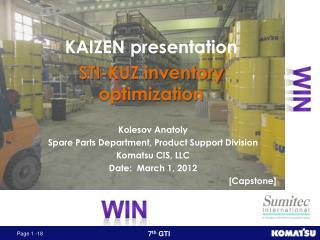 KAIZEN presentation STI-KUZ inventory optimization
