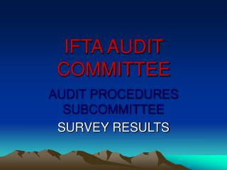 IFTA AUDIT COMMITTEE